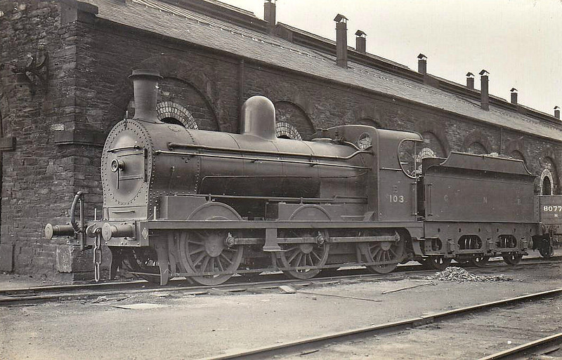 Class PG - 103 DUNLEER - GNR(I) 0-6-0 - built 1901 by Neilson Reid - 1929 rebuilt as Class PGs - 1958 to UTA No.103x - withdrawn 1960 - seen here at Derry in 1931.