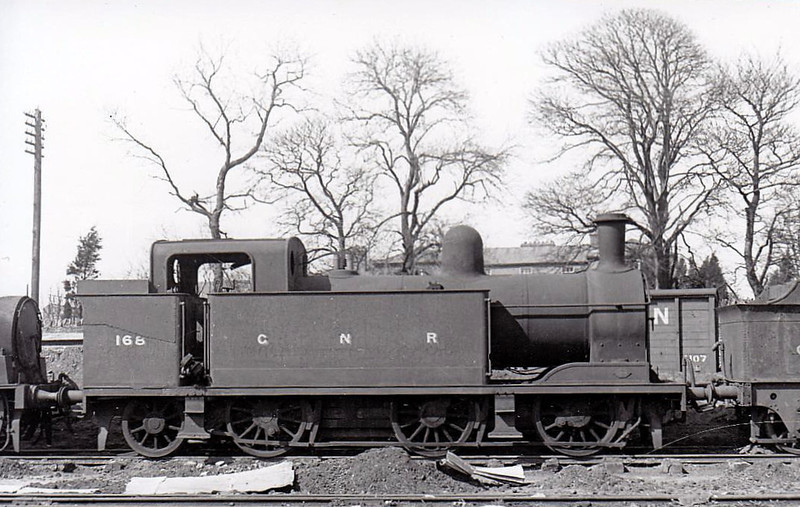 Class QGT2 - 168 - GNR(I) 0-6-2T, built 1911 by Robert Stpehenson & Co. - withdrawn 1957 - seen here at Dundalk in 1948.