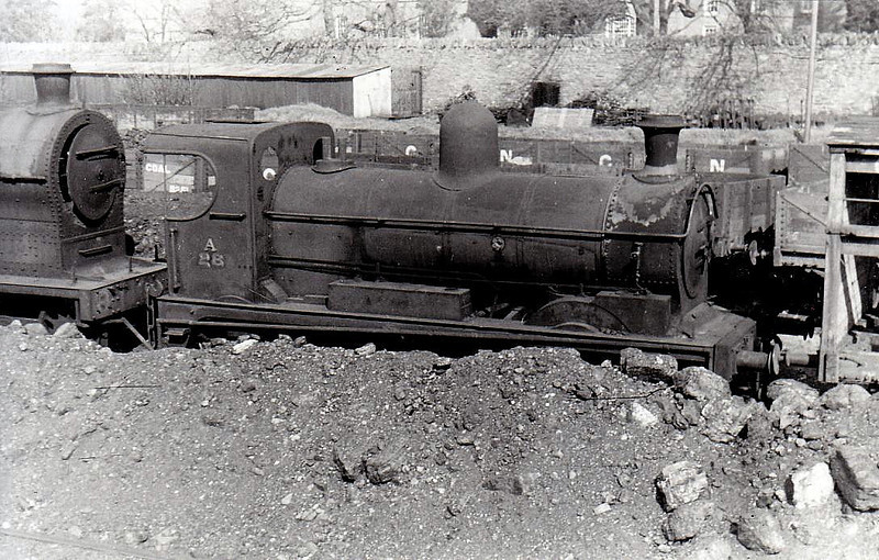 Class A - 28 WEXFORD - GNR(I) 0-6-0, built 1888 by Beyer Peacock - withdrawn in 1958 - seen here at Dundalk in 1955.