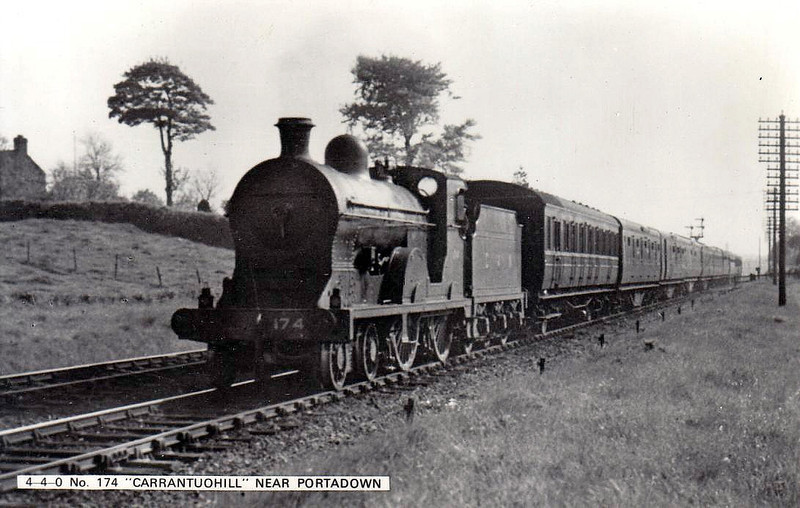 Class S - 174 CARRANTUOHILL - GNR(I) 4-4-0 - built 1913 by Beyer Peacock - 1939 rebuilt - 1958 to CIE as No.174N - withdrawn 1963 - seen here near Portadown.