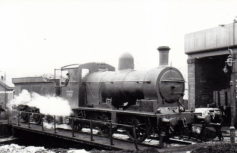 Class J 8 - 444 - D&SER 0-6-0, built 1910 by Grand Canal Street Works as No.18 ENNISCORTHY - 1925 to GSR, 1943 rebuilt with Belpaire boiler, 1945 to CIE, 1947 rebuilt with round topped boiler - withdrawn 1957 - seen here at Dublin Amiens Street in 1938.