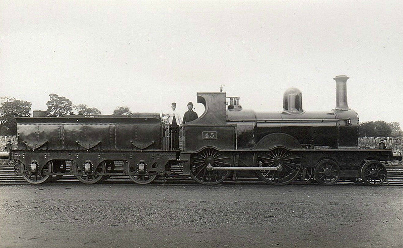 Class D19 -  45 - GS&WR Class 2 4-4-0 - built 1878 by Inchicore Works - 1925 to GSR, 1931 rebuilt with Belapire boiler, 1945 to CIE - withdrawn 1945.