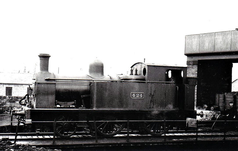 Class G 1 - 424 - 2-4-0T, built 1890 by Dublin, Wicklow & Wexford Railway as No.9 DALKEY - 1925 to GSR as No.424, 1934 rebuilt with Belpaire boiler, 1945 to CIE - withdrawn 1952 - seen here at Dublin Amiens Street in 1938.