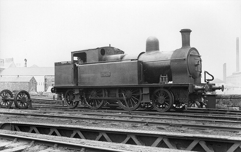 Class F1 - 438 - Dublin & South Eastern Railway 2-4-2T - built 1909 by Kingstown Works as D&SER No.30 ST IBERIUS - 1925 to GSR as No.438, 1930 rebuilt with round-topped boiler, 1933 rebuilt with Belpaire boiler, 1937 rebuilt with round-topped boiler, 1945 to CIE - 1952 withdrawn.