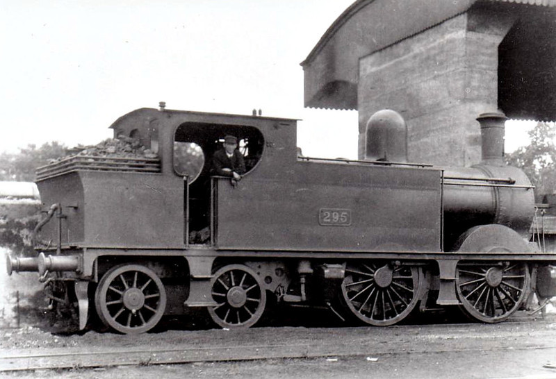 Class E 2 - 295 - WL&WR 0-4-4T, built 1895 as Waterford, Limerick & Western Railway No.52 - 1925 to GSR as No.295, 1926 rebuilt, 1945 to CIE - withdrawn 1954 - seen here at Limerick in 1932.