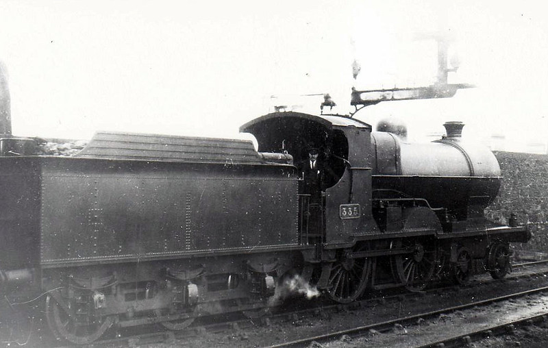Class D 2 - 335 - GS&WR Class 333 4-4-0 - built 1907 by Inchicore Works - 1925 to GSR, 1933 rebuilt with Belpaire boiler, 1945 to CIE - withdrawn 1955 - seen here at Bray in 1938.