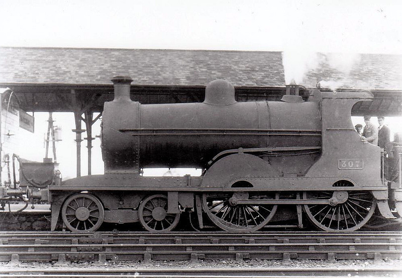 Class D12 - 307 - GS&WR Class 305 4-4-0, built 1902 by Inchicore Works - 1906 rebuilt, 1925 to GSR, 1937 rebuilt with Belpaire boiler, 1945 to CIE - withdrawn 1959 - seen here at Limerick Junction in 1932.