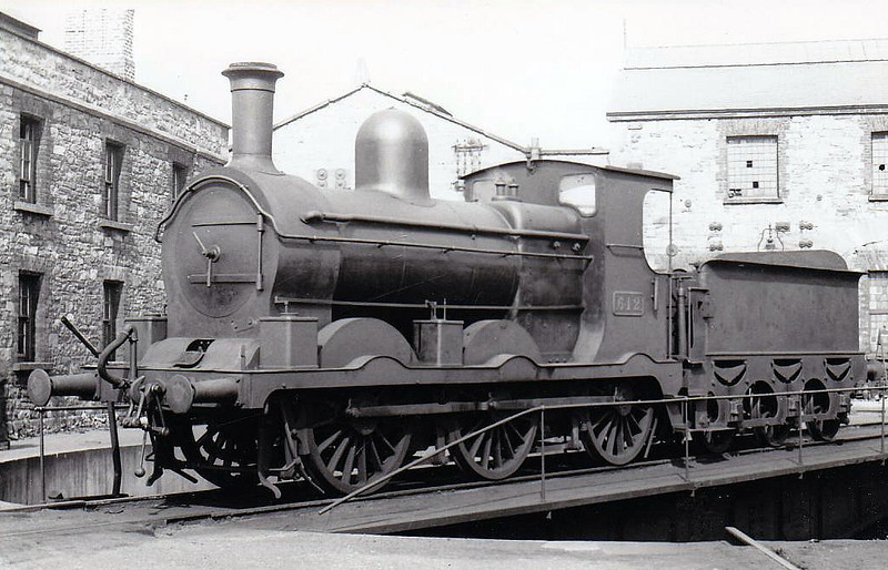 Class J18 - 612 - M&GWR Class Lm 0-6-0 - built 1891 by Broadstone Works as M&GWR No.75 HECTOR - 1925 to GSR as No.612 - 1925 rebuilt with Belpaire boiler, 1942 rebuilt with round top bolier - 1945 to CIE - withdrawn 1961 - seen here between 1925 and 1942.