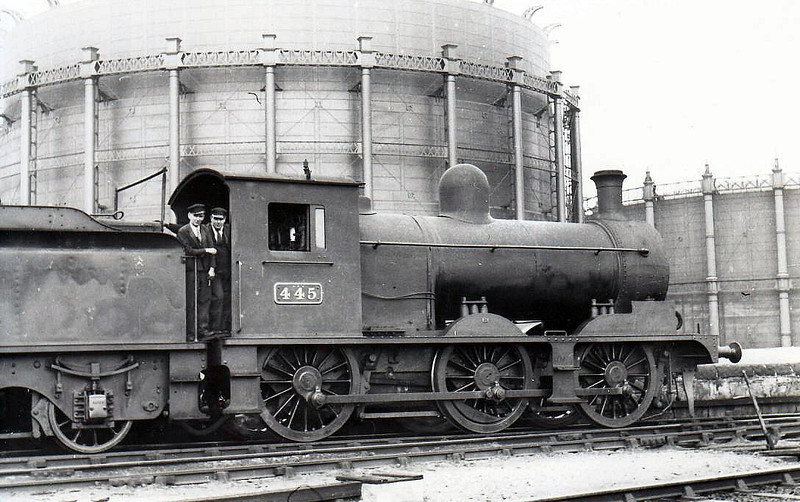Class J 8 - 445 - D&SER 0-6-0 - built 1905 by Grand Canal Street Works as D&SER No.65 CORK - 1925 to GSR as No.445, 1945 to CIE - withdrawn 1957 - seen here at Grand Canal Street in 1938.