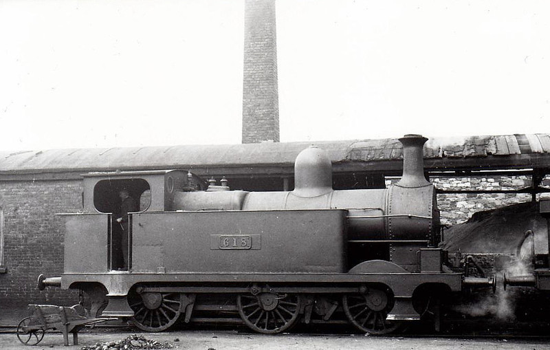 Class J10 - 618 - M&GWR Class P 0-6-0T, built 1890 by Broadstone Works as Midland & Great Western Railway No.105 HERCULES -  1911 rebuilt with Belpaire boiler, 1925 to GSR as No.618, 1945 to CIE - withdrawn 1949 - seen here at Broadstone in 1938.