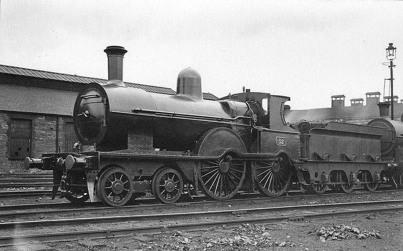 Class D17 - 52 - GSWR Class 52 4-4-0, built 1883 by Inchicore Works - 1925 to GSR, 1931 rebuilt with Belpaire boiler, 1945 to CIE - withdrawn 1949 - seen here at Inchicore.