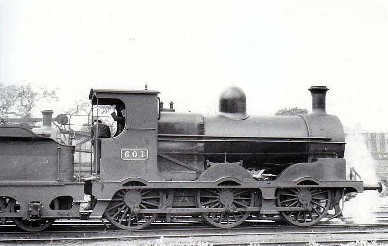 Class J19 - 601 - M&GWR Class L 0-6-0 - built 1888 by Broadstone Works as M&GWR No.62 TIGER - 1924 rebuilt with Belpaire boiler, 1925 to GSR, as No.601, 1931 rebuilt, 1945 to CIE - withdrawn 1959 - seen here at Broadstone in 1938.