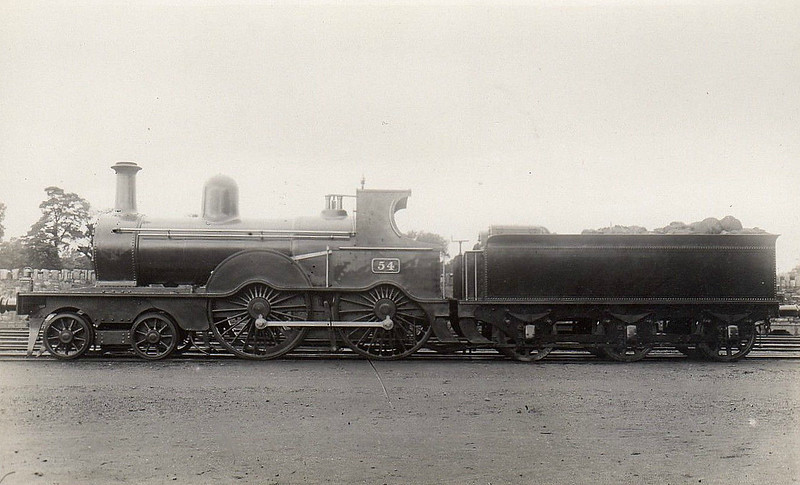 Class D17 - 54 - GSWR Class 52 4-4-0, built 1883 by Inchicore Works - 1925 to GSR, 1930 rebuilt with Belpaire boiler, 1945 to CIE - withdrawn 1959