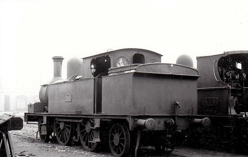 Class F 4 - 267 - 2-4-2T, built 1891 by Vulcan Foundry as Waterford, Limerick & Western Railway No.14 LOUGH DERG - 1901 to GS&WR as No.267, 1925 to GSR - withdrawn 1935 - seen here at Inchicore Works in 1938.