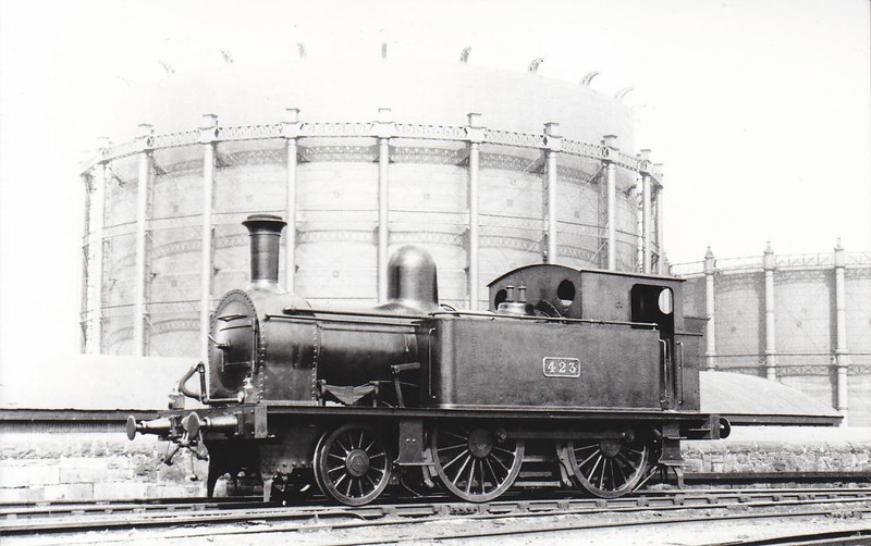Class G 1 - 423 - 2-4-0T, built 1891 for Dublin, Wicklow & Wexford Railway as No.49 CARRICKMINES - 1925 to GSR, 1945 to CIE - withdrawn 1955 - seen here at Dublin Grand Canal Street in 1938.