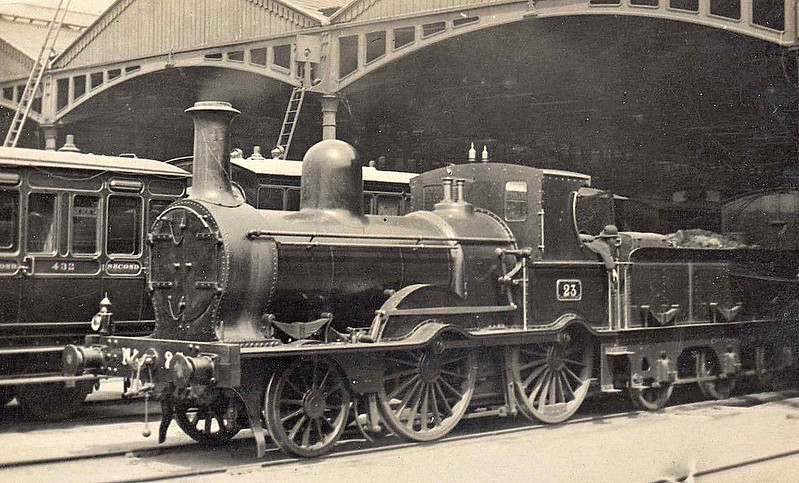 23 - McDonnell Class 21 2-4-0 - built 1873 by Inchicore Works - 1912 withdrawn - seen here at Kingsbridge Station.
