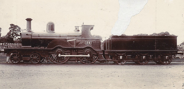 54 - Class 52 4-4-0 - built 1883 by Inchicore Works - 1925 to GSR- 1930 rebuilt with Belpaire boiler - 1945 to CIE - 1959 withdrawn.