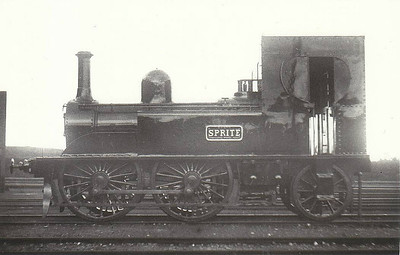 SPRITE - G&SWR 0-4-4T engine/coach, built 1873 by Inchicore Works - 1889 coach removed and reduced to 0-4-2T - 1925 to GSR - withdrawn 1927 - seen here at Inchicore, 04/24.