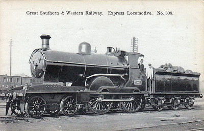 308 - GSWR Class 305 4-4-0 - built 1902 at Inchicore Works - 1904 rebuilt, 1925 to GSR - withdrawn 1933.