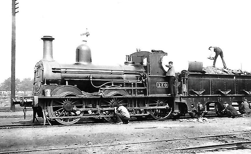 170 - McDonnell GSWR Class 101 0-6-0 - built 1874 by Inchicore Works - 1921 rebuilt - 1925 to GSR - 1941 rebuilt with superheated Belpaire boiler - 1945 to CIE - 1962 withdrawn - seen here as built.