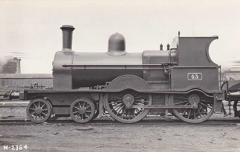 43 - McDonnell GSWR Class 2 4-4-0 - built 1878 by Inchicore Works - 1925 to GSR - 1932 rebuilt with Belpaire boiler - 1945 to CIE - 1945 withdrawn.