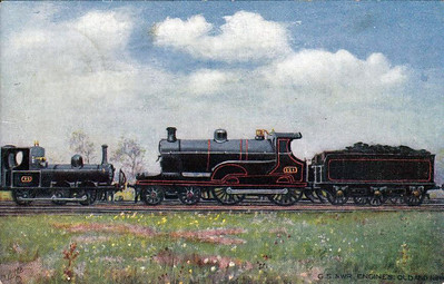 GREAT SOUTHERN & WESTERN RAILWAY - 0-6-0T No.92 of 1881 and 4-4-0 No.321 of 1904, the latest G&SWR express passenger loco, pose in a 'little and large' comparison picture - posted in Tramore April 18th, 1905..