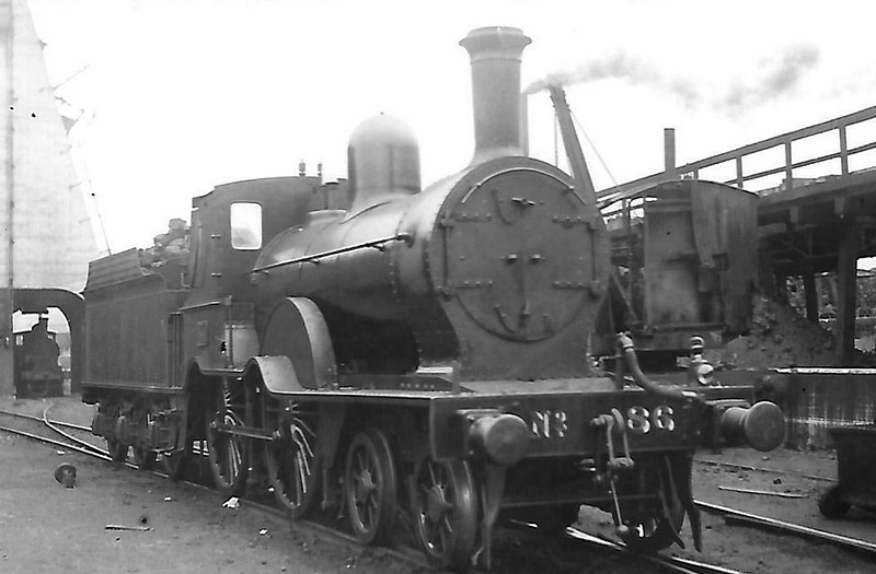 86 - Aspinall GSWR Class 60 4-4-0 - built 1886 by Inchicore Works - 1925 to GSR - 1937 rebuilt with superheated Belpaire boiler - 1945 to CIE - 1957 withdrawn - seen here at Cork.