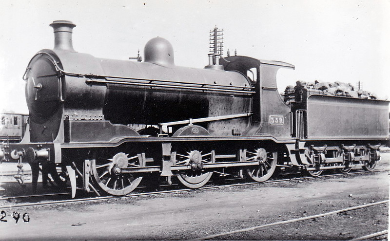 359 - Coey G&SWR Class 355 0-6-0 - built 1903 by North British Loco Co., Works No.15947- 1908 rebuilt as 2-6-0 - 1925 to GSR - 1930 rebuilt with Belpaire boiler, 1934 rebuilt with superheated Belpaire boiler - 1945 to CIE - 1959 withdrawn.