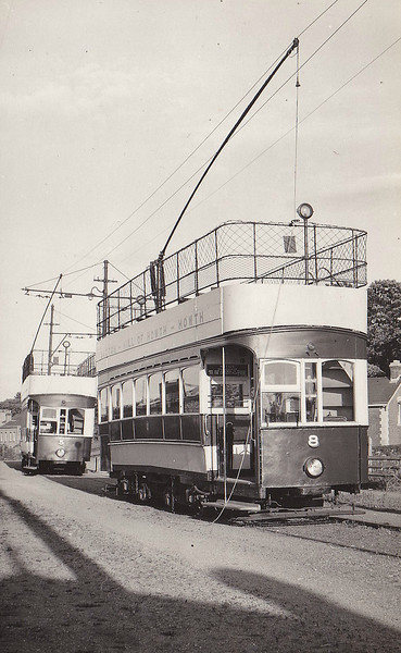 No.8 - eight trams built in 1901 by Brush & Co., Loughborough - 67 passengers - No.5 behind - seen here in June 1954.
