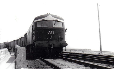 CORAS IOMPAIR EIREANN - A11 - Metropolitan Vickers Class A Co-Co - 60 locomotives built from 1955 - from 1968 re-engined with GM motors and suffix 'R' added to numbers - 1972 to CIE No.011 - all withdrawn by 1995 - seen here in the mid 1960's.