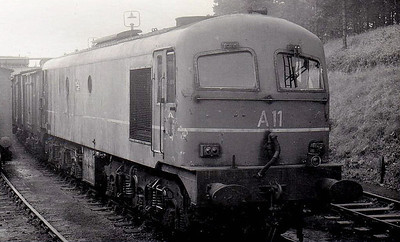 CORAS IOMPAIR EIREANN - A11 - Metropolitan Vickers Class A Co-Co - 60 locomotives built from 1955 - from 1968 re-engined with GM motors and suffix 'R' added to numbers - 1972 to CIE No.011 - all withdrawn by 1995 - seen here at Drogheda in 1964.