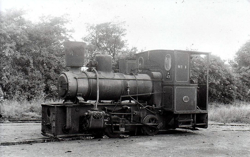 BORD NA MONA - No.43 - 0-4-0WT, built 1949 by Andrew Barclay & Co., Works No.2263, as BNM No.1 - wirhdrawn 1953 - 1978 preserved, much modified, at Tallylyn Railway- seen here at Cushina in 1953.