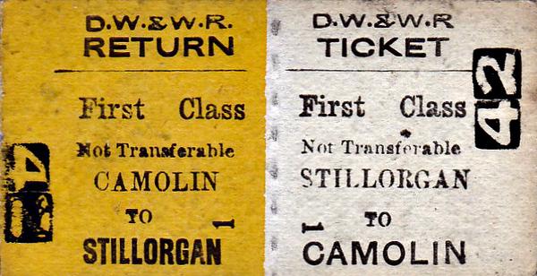 DUBLIN, WEXFORD & WATERFORD RAILWAY - STILLORGAN - First Class Return to Camolin.