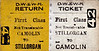 DUBLIN, WEXFORD & WATERFORD RAILWAY - STILLORGAN - First Class Return to Camolin.