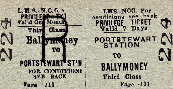 LMSR/NORTHERN COUNTIES COMMITTEE TICKET - PORTSTEWART - Third Class Weekly Privilege Return to Ballymoney, fare 11d.