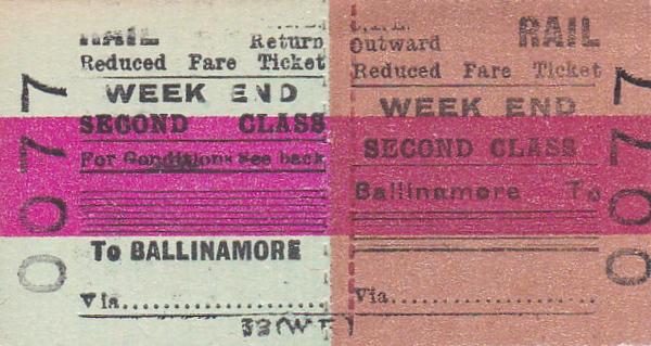 CORAS IOMPAIR EIREANN TICKET - BALLINAMORE - Second Class Weel End Return Ticket to blank destination.