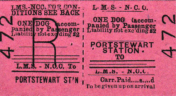 LMSR/NORTHERN COUNTIES COMMITTEE TICKET - PORTSTEWART - Return - Dog accompanying passenger.