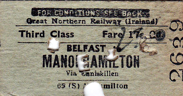 GREAT NORTHERN RAILWAY (IRELAND) TICKET - BELFAST - Third Class Single to Manorhamilton, on the SLNCR from Enniskillen - fare 21s 0d, altered by hand from 17s 0d - dated July 6th, 1954.