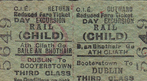 CORAS IOMPAIR EIREANN TICKET - BOOTERSTOWN - Third Class Child Day Excursion to Dublin - dated February 21st, 1959.