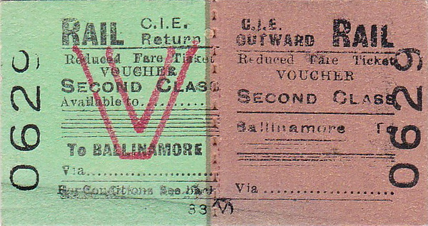 CORAS IOMPAIR EIREANN TICKET - BALLINAMORE - Second Class Rediced Fare Voucher Return Ticket to blank destination.
