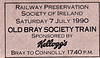 RAILWAY PRESERVATION SOCIETY OF IRELAND TICKET - BRAY - 'The Old Bray Society Train' - Three return specials on charter to the Bray Seaside Festival Committee and sponsored by Kelloggs ran Bray-Greystones-Bray on July 7th, 1990, hauled by Class WT 2-6-4T No.4. The last train of the day was to return the stock to Dublin Connolly, for which his ticket is valid.