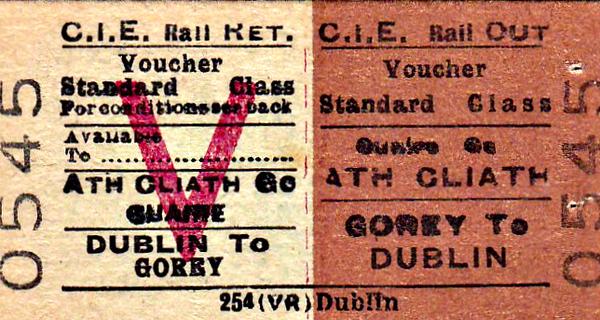 CORAS IOMPAIR EIREANN TICKET - GOREY - Standard Class Voucher Return to Dublin.