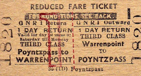 GREAT NORTHERN RAILWAY (IRELAND) TICKET - WARRENPOINT - Third Class Day Return to Poyntzpass.