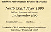 RAILWAY PRESERVATION SOCIETY OF IRELAND TICKET - BELFAST - 'North Coast Flyer' - September 1st, 1990 - it appears that this train did not run.
