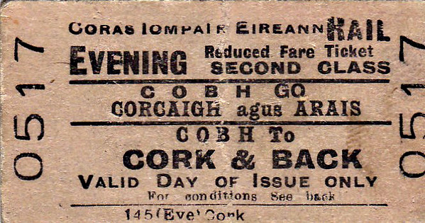 CORAS IOMPAIR EIREANN TICKET - COBH - Second Class Evening Return to Cork - dated June 20th, 1959. Note that this is specified as a Rail Ticket.