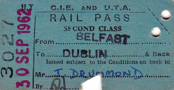 CORAS IOMPAIR EIREANN TICKET - BELFAST - Second Class Seat Reservation Return to Dublin - dated September 30th, 1962.
