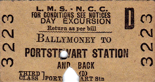 LMSR/NORTHERN COUNTIES COMMITTEE TICKET - BALLYMONEY - Third Class Day Excursion to Portstewart - dated July 31st, 1962.