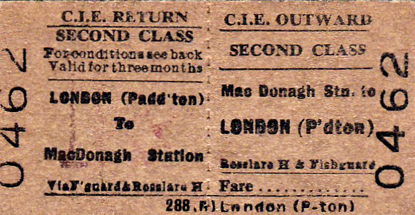 CORAS IOMPAIR EIREANN TICKET - KILKENNY MacDONAGH - Second Class Three Monthly Return to London (Paddington), via Rosslare Harbour and Fishguard.