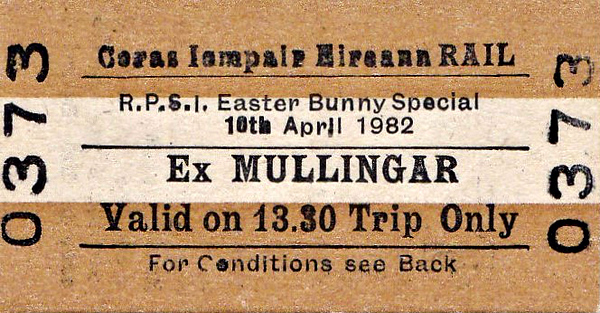 CORAS IOMPAIR EIREANN TICKET - MULLIINGAR - RPSI 'Easter Bunny' Special Return to Castletown, hauled by Class J15 0-6-0 No.184, April 10th, 1982.