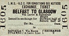 LMSR/NORTHERN COUNTIES COMMITTEE TICKET - BELFAST - Third Class Single Exchange Ticket to Glasgow, via Larne and Stranraer (Burns & Laird Lines) - specimen ticket.